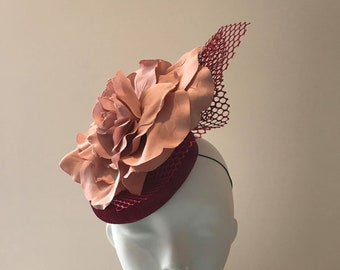 Designer derby hats, modern derby hats, Best hats to wear at the derby, big derby hats, burgundy pink hats for the races SHOW PONY Millinery