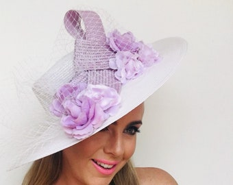 Ascot Hats for women, Ascot hat, big Ascot Hat, Purple white veil Derby Hat, ladies ascot hat, purple white Ascot hat