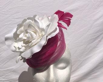 Pink & white ladies fascinator hat | Ladies derby hats