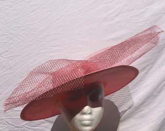 Big pink derby hats, pinks ladies races hat