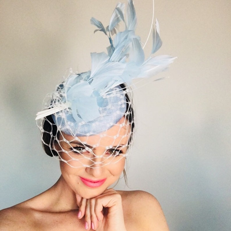 Derby hats for women Fascinator hats Pale blue veiled  bb5b9986f940