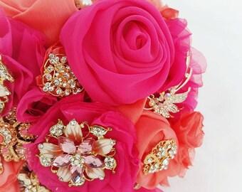Bridal Brooch Bouquet/Handmade Hot Pink - Tangerine Wedding Bridal Brooch Bouquet/Summer Orange-Hot Pink Bridal Bouquet/Rose Gold Brooches