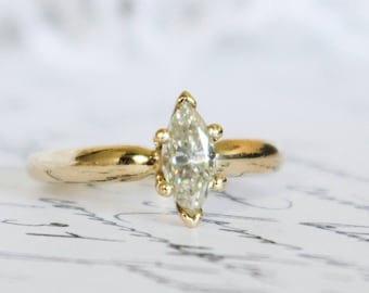 Marquise Cut Moissanite in Yellow Gold Solitaire Ring, Engagement Ring