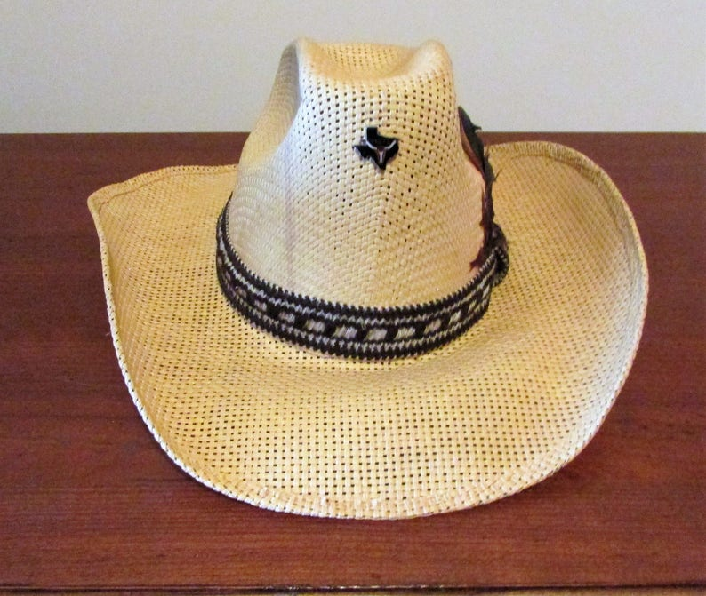3a468a2ef42 Vintage Miller Brothers Straw Cowboy Hat with Feathered