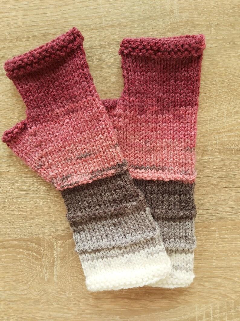 Women Fingerless gloves Mittens Long Arm Warmers  Women Fingerless Wrist Multicolored gloves Knitted gloves Vegan gloves Ready to ship