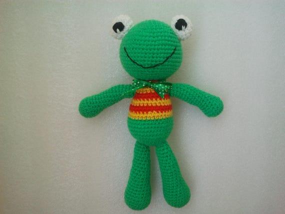 Häkeln Sie Grüner Frosch Frosch Gehäkelten Frosch Häkeln Etsy