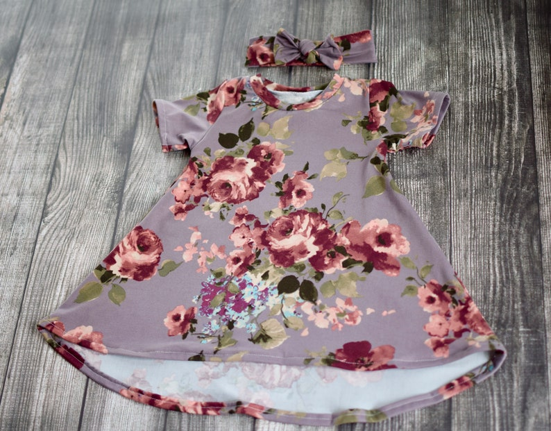 Burgundy Floral on Dust Mauve Short Sleeve Tshirt Dress w Headband