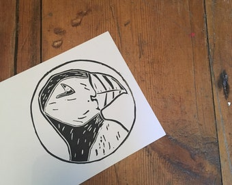Puffin Lino Print Card