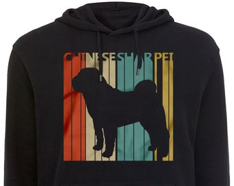 Chinese Shar Pei Dog Hoodie women, men, mom, dad, owner birthday gift - Vintage Retro 1970s style hooded sweatshirt #2125