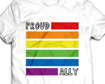 746b5820 LGBT T-Shirt, Proud Ally shirt men women, Lgbt tshirt funny Tee shirt, Gay T  shirt, Lgbt ally lgbt support, LGBT gifts t-shirt LGBTQ #0635