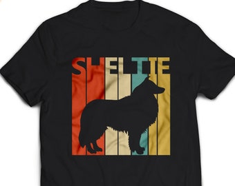 7ea8d717 Sheltie Shirt - Vintage Retro Shetland Sheepdog Sheltie Dog T-shirt Men's  Women's Unisex Tshirt gift #1655