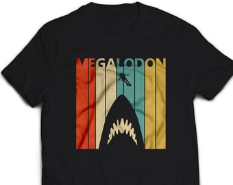f1d5feab01 Megalodon Shark T-Shirt for Men Women Kid's, Vintage Retro 1970's style  Funny Graphic Tshirt Gift #3017