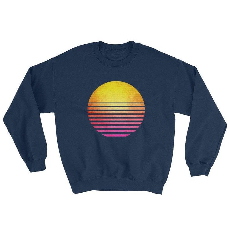 c3ea5146a Synthwave Sweatshirt Vintage Retro 80s Sun Sunset Sweater | Etsy
