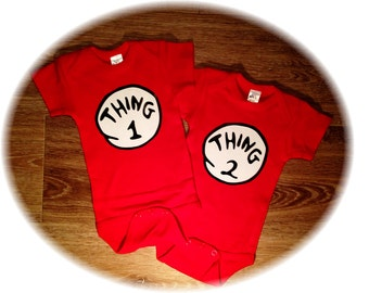 Thing 1 Thing Two, Baby Onesies, Twin Onesies, Funny Baby Clothes, Baby Shower Gift, Twin Outfits, Baby Boy, Baby Girl, Newborn Photos