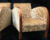 Art Deco Armchairs Club Chairs Floral Pair early 1900s golden birch bentwood arms antique
