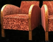 Swedish Art Deco Armchairs Club Chairs Red Floral Pair early 1900s golden birch bentwood arms