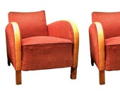 Swedish Antique Art Deco Armchairs Club chairs Bentwood arms early 1900s Red Fabric