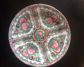 Small antique hand painted Chinese plate famille rose 1950