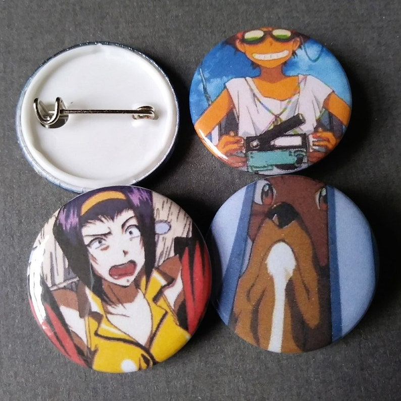 Pinback Set of 4-25mm Button Badges Anime Comic Cowboy Bebop