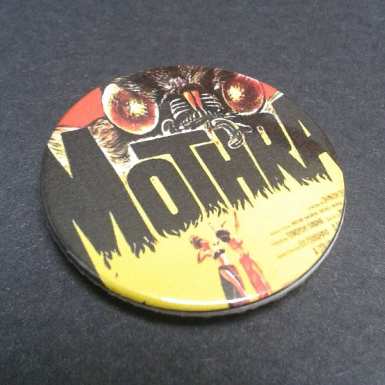 25mm B Movie badge or fridge magnet Godzilla 38 mm Cult Film 50s