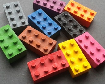 Lego brick shaped crayons - Lego themed party - Children's crafts - Art Supplies - Party favours - Party bags - Birthday - Boy - Girl - Lego