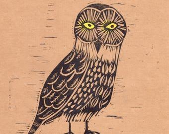 Owl print | linocut print | mixed media art | quirky art print | woodland nursery print | bird print | Square print | hand pulled print