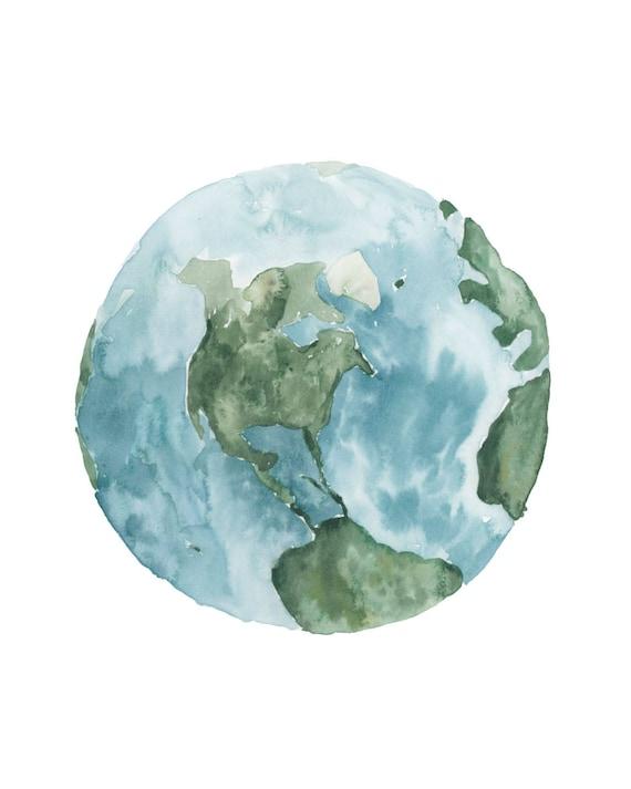 photograph regarding Printable Earth known as Watercolor World Printable