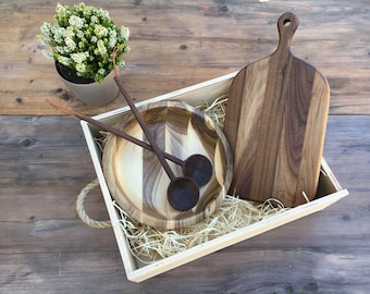 Exclusive Holiday Gift Set - Monogram available! Walnut Wood