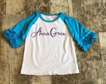 434e8152 Custom Name or Monogram on Girls Icing Ruffle Sleeve Raglan T-Shirt for  Infant, Toddler and Youth