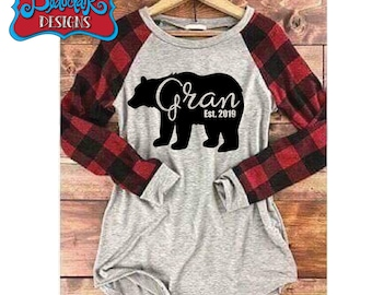 54d067f3 Gran (Or Custom Name) Established Custom Year Design on Ladies' Buffalo  Plaid Raglan Sleeve T-Shirt, Light Grey, Red, Bear, Grandma Bear