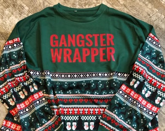 36a7ba9c4 Gangster Wrapper Design on Tacky Christmas Sweater Pattern Print Long Sleeve  Pom Pom Jersey T-Shirt, Ugly Christmas