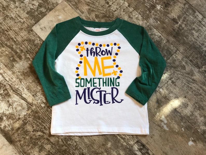 e6a73556f Mardi Gras Throw Me Something Mister Design on Raglan T-Shirt | Etsy