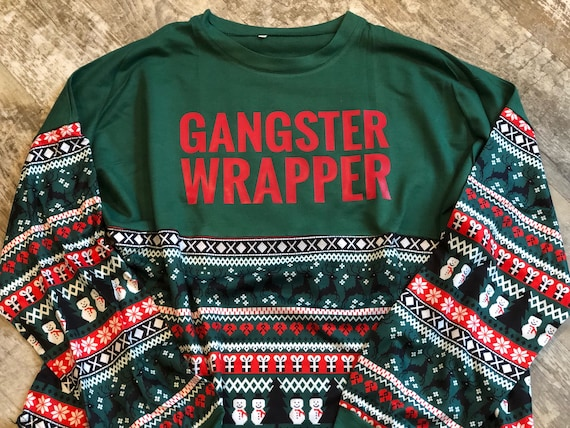 Ugly Christmas Sweater Pattern.Gangster Wrapper Design On Tacky Christmas Sweater Pattern Print Long Sleeve Pom Pom Jersey T Shirt Ugly Christmas