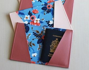 Floral passport holder, passport case, vinyl passport holder with cotton liner, faux leather passport holder