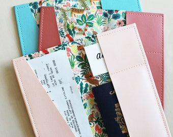 Long jungle passport holder, passport case, passport cover, vinyl passport holder with cotton liner, faux leather passport holder