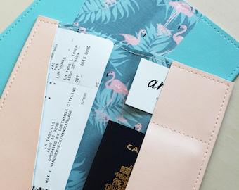 Long flamingos passport holder, passport case, vinyl passport holder with cotton liner, faux leather passport holder