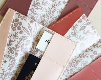 Long rose gold floral passport holder, passport case, vinyl passport holder with cotton liner, faux leather passport holder