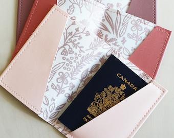 Rose gold floral passport holder, passport case, vinyl passport holder with cotton liner, faux leather passport holder
