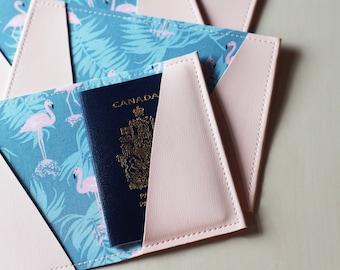 Flamingos passport holder, passport case, vinyl passport holder with cotton liner, faux leather passport holder