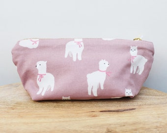 Alpaca pouch, soft zippered pouch, makeup pouch, small pouch, oxford and canvas pouch, travel pouch, fabric pouch