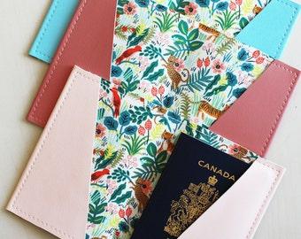 Jungle passport holder, passport case, vinyl passport holder with cotton liner, faux leather passport holder