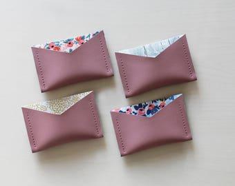 Mauve card holder, business card holder, vinyl card holder, vegan friendly card holder, faux leather card holder, fabric liner