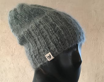 Hand knitted Cosy warm winter hat In Mohair