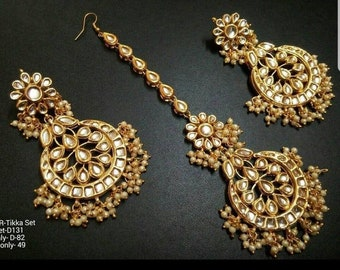 4dc403b7f84ba1 Indian Bollywood Designer Bridal Wedding Kundan Earrings With Maang Tikka  With fine Pearls Premium Quality-Indian Traditional Jewelry