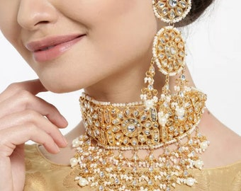 Gold Plated Bridal Dulhan Full Wedding Jewelry Set in Golden