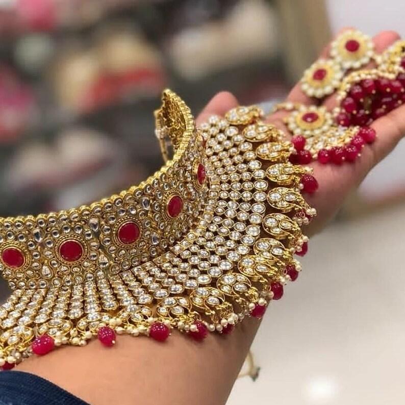 Fashion Jewelry Indian Bollywood Gold Plated Antique Wedding Polki Kundan Necklace Earrings Set