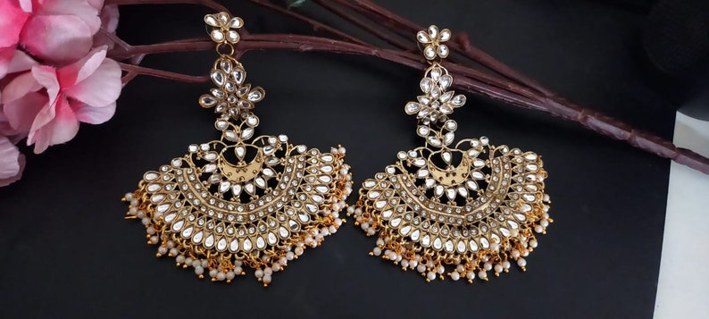 kundan earrings Lined with Pearls Bali earrings  l Hand Painted Meenakari Jhumka Earring for Women