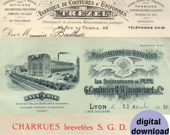 Digital Antique Invoice Letterheads from 1900s French Vintage Invoices