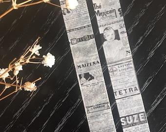 Vintage ads washi tape, French words vintage theme masking tape roll