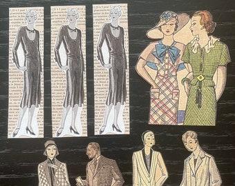 1950s Vintage ladies stickers, handmade peel-off stickers